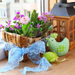 Easter decorating of balcony — Stock Photo