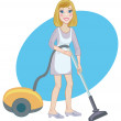 Housemaid with a vacuum cleaner — Stock Vector
