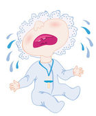 A baby cries — Stock Vector