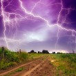 Stock Photo: Rural road and lighting storm