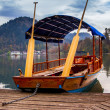 A pletna, traditional Slovenia boat, on Lake Bled - Stock Photo