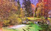 Emerald colored alpine river Soca , Isonzo, Slovenia — Stock Photo