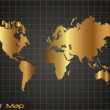 Gold and Black World Map Vector Illustration — Stock Vector