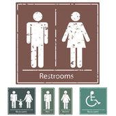 Retro Restroom Signs — Stock Vector