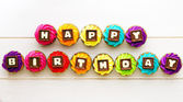 Happy birthday cupcakes — Stockfoto