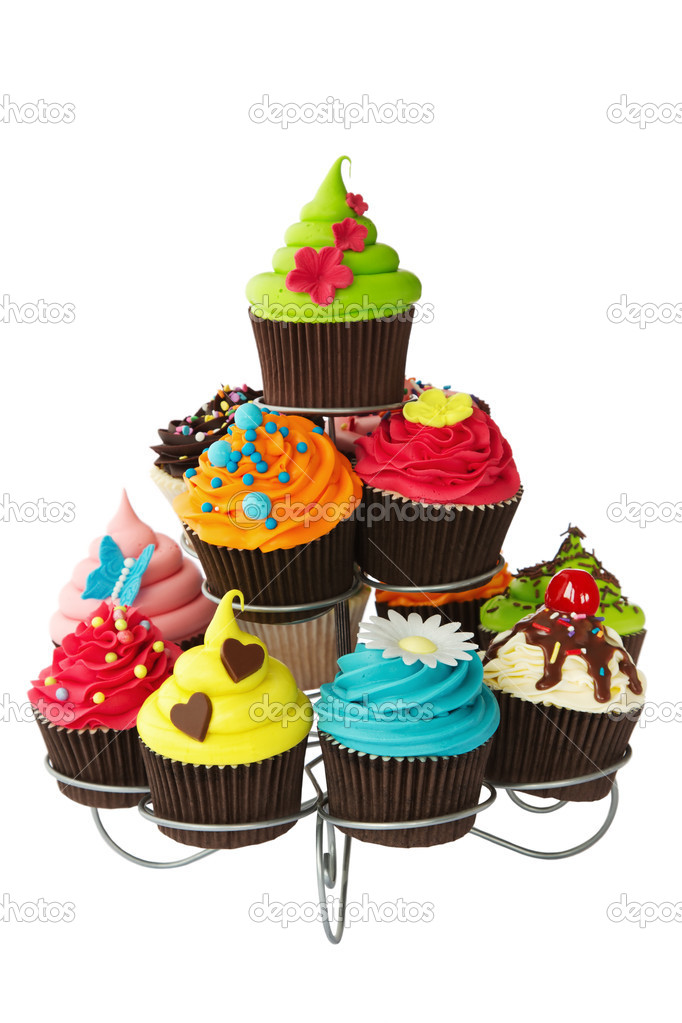 Colorful cupcakes on a cakestand  Stock Photo #11973495