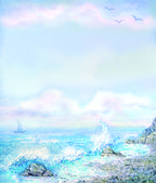 Watercolor background with foaming surf from the rocky shore — Stok fotoğraf