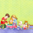 Watercolor illustration. Children playing in the room — Stock Photo