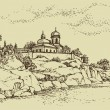 Vector  landscape. Old  monastery on a  rocky hill above the riv — Векторная иллюстрация