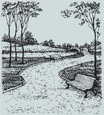 Vector de paisaje. bancos a lo largo de los senderos del parque — Vector de stock