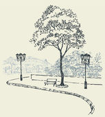 Vector cityscape. Bench under a tree and lights outside the park — Stock vektor