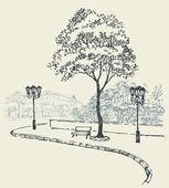 矢量城市景观。下一棵树和灯外的公园长椅 — 图库矢量图片