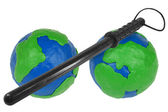 Two hemispheres and police baton — Stock Photo