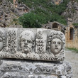 Faces from ancient city Myra, Turkey — Stock Photo