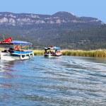 przyjemność łodzi silnikowych do rzeki dalyan, Turcja — Zdjęcie stockowe
