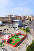 The capital of Ukraine Kyiv is preparing fan zone on Maidan Nezalezhnosti. — Stock Photo