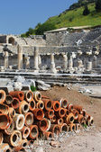 Clay chimney pots found at Ephesus, Turkey — Stock Photo