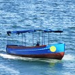 Little blue boat in Sevastopol, Crimea, Ukraine - Stock Photo
