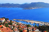 Harbour of city Kas (Kash) in Turkey and Greek island Kasteloriz — Stock Photo