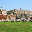 Ruins of st. Johns Basilica and the Roman Fortress at Ayasuluk H - Stock Photo