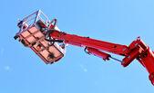 Mobile fire escape with rescue cradle — Stock Photo