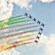 Stock Photo: Demonstrative performance of Italiaerobatic team at air s