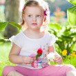 Little blond girl in nature — Foto de Stock