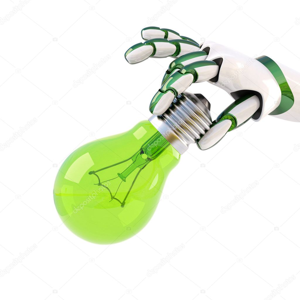 Green light bulb in the hand of the robot. Isolated on white.  Stock Photo #12157972