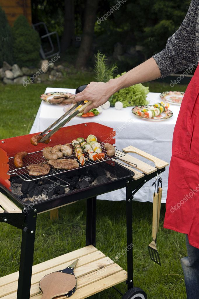 Barbecue in the garden, really tasty dinner!  Stock Photo #10796839