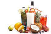 Exotic alcohol drinks set with fruits — Foto Stock