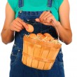 Stock Photo: Farm Girl with Basket of Eggs