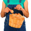 Farm Girl with Basket of Eggs — Stock Photo