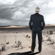 Businessman in the Desert — Stock Photo