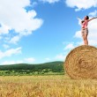 Woman enjoying on the wheat — Foto Stock