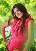 Beautiful smiling girl relaxing outdoor portrait — Stok fotoğraf