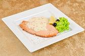 Grilled salmon steak — Stock Photo