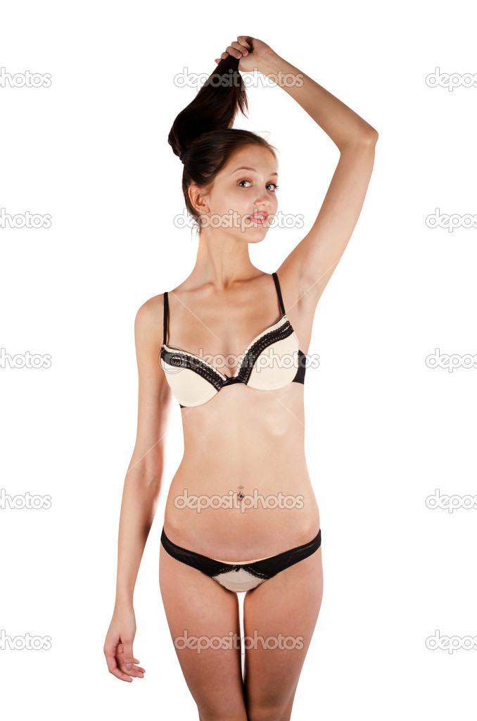Beautiful girl in a underwear on a white — Stock Photo #11947304
