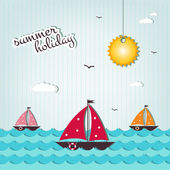 Cartoon summer holiday background — Stockvektor