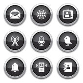 Black communication buttons — Vetor de Stock