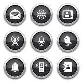Botones de comunicación negro — Vector de stock