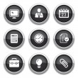 Stock Vector: Black business & office buttons