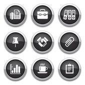 Black business & office buttons — Stok Vektör