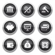 Black finance buttons — Stock Vector #12415500