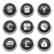 Black finance buttons — Stock Vector