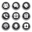 Stock Vector: Black communication buttons