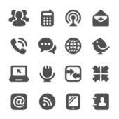 Iconos de comunicación negro — Vector de stock
