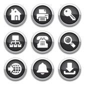 Black internet buttons — Stock Vector