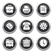 Black office buttons — Stock Vector