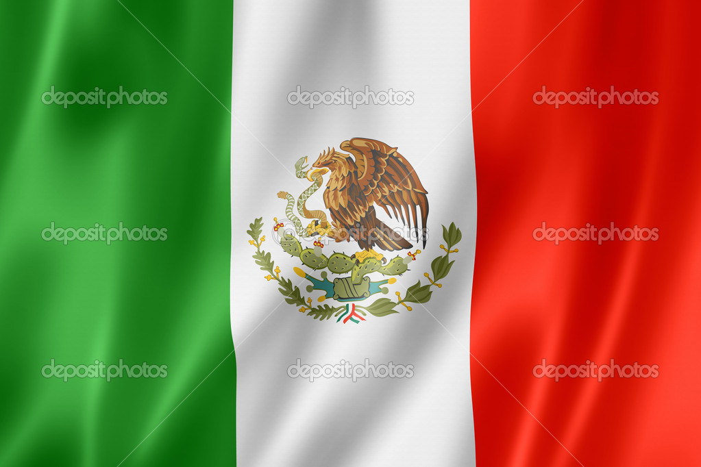 Mexico flag, three dimensional render, satin texture  Stock Photo #11399382