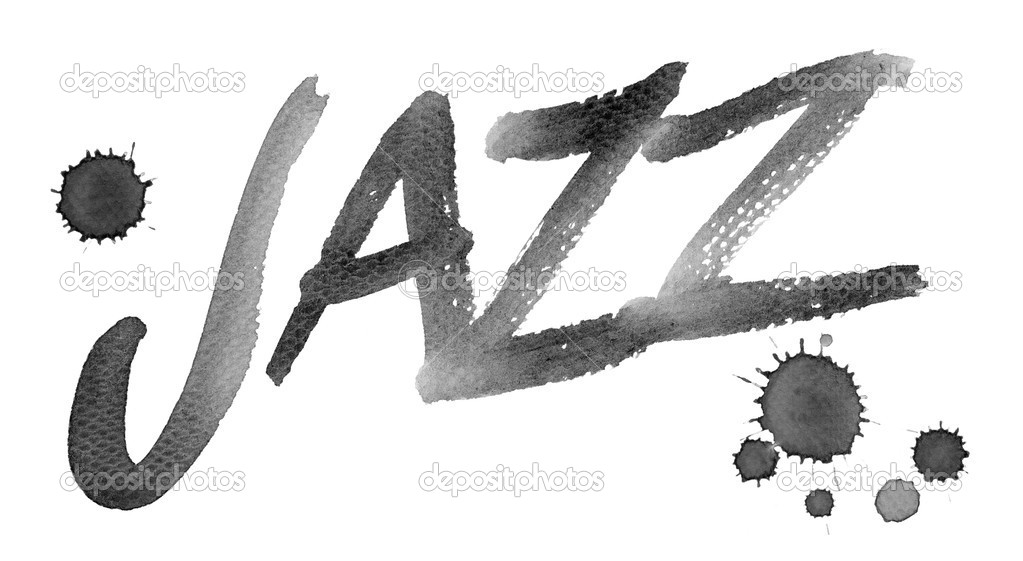 Word JAZZ painted on paper with a brush. Add colour according to your taste.  Stock Photo #10914970